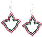 AKA Rhinestone Pink and Green Ivy Earrings