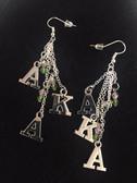 AKA Silver and Green Dangle Earrings