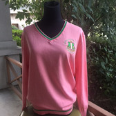 Apple Green and Salmon Pink Pullover Sweater