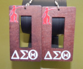 Delta Sigma Theta Lady Fortitude Wood Earrings