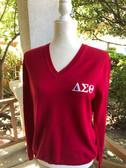 Delta Sigma Theta Red V-Neck Sweater
