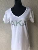 AKA Green Rhinestone White Short Sleeve Shirt