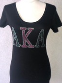 AKA  Pink Green and  Silver Rhinestone T-Shirt