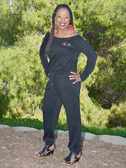 Delta Sigma Theta Off The Shoulder Jogger Jumpsuit