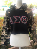 Delta Sigma Theta Black and Camo Green Crop Hoodie
