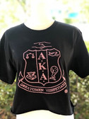 AKA Black Shirt With Pink Shield - Short Sleeve and Crop Top