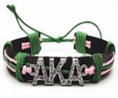Alpha Kappa Alpha Pink and Green  Wristlet