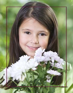 Girl with flowers border