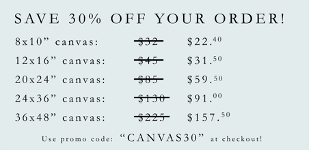 Save 50 Percent on Your Canvas Order