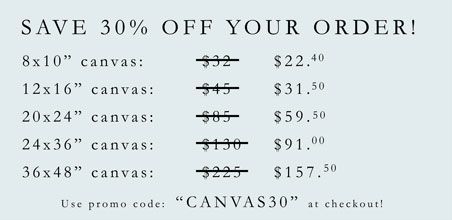 Save 30 Percent on Your Canvas Order