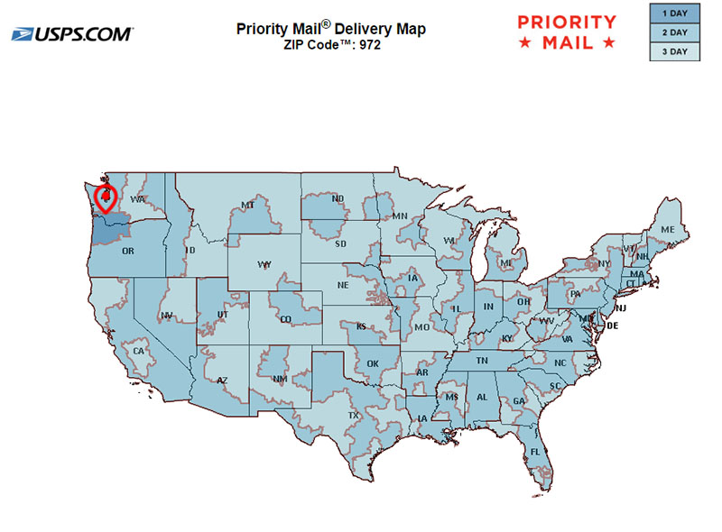 USPS Shipping Timezone Map