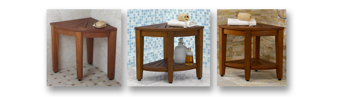 Teak Wood Corner Shower Stool Aqua Teak