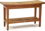 "Patented 30"" Maluku™ Teak Shower Bench with Shelf"