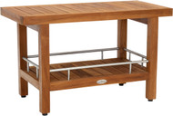 "Patented 30"" Spa™ Teak & Stainless Shower Bench with Shelf"