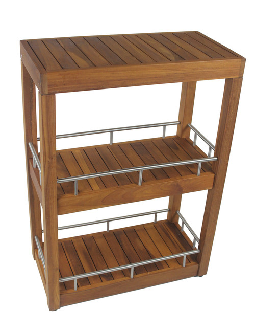 Patented Sula™ Rectangular Teak & Stainless Three Tier Bath Stand ...