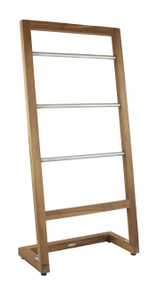 Patented Sula™ Angled Teak & Stainless Towel Stand