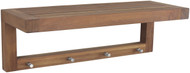 "The Original 24"" Moa™ Teak Wall Shelf with Hooks"