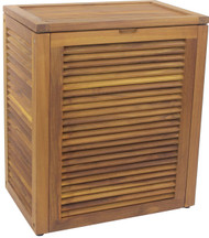 Nila™ Large Size Wall-Hugging Teak Louvered Hamper