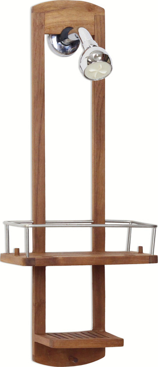 The Original Moa™ Small Teak Shower Caddy - Aqua Teak