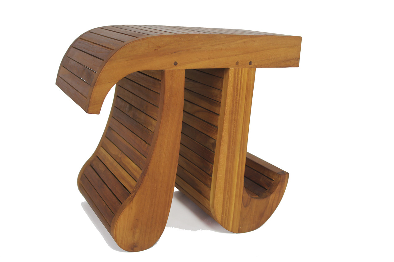Patented Pi Shaped Teak Bench Aqua Teak