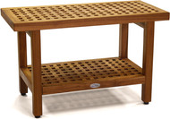 "The Original 30"" Grate™ Teak Shower Bench with Shelf"