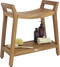 Asia Ascend Teak Shower Bench with Elevated Height and Shelf (130)