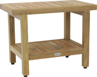 "24"" Spa™ Natural Teak Shower Bench with Shelf"