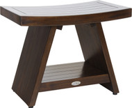 """Patented 24"""" Asia® Walnut Color Teak Shower Bench with Shelf"""