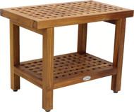 "24"" Wide Grate™ Teak Side Table with Shelf"