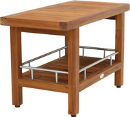 "30"" Wide Spa™ Teak & Stainless Side Table with Shelf"