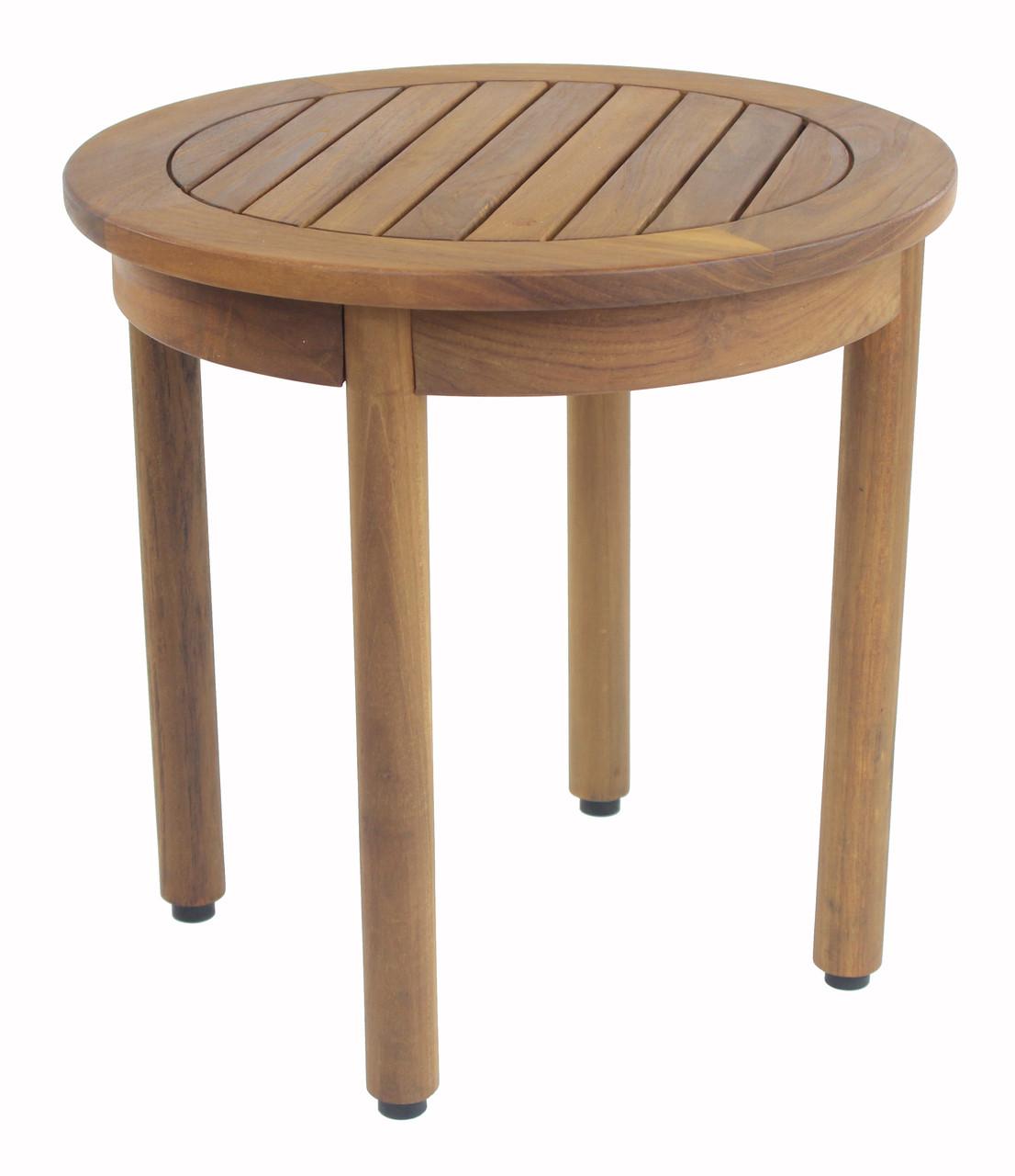 Round Teak Side Table.18 Wide Round Omega Teak Side Table
