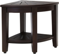 "15.5"" Wide  Kai™ Mocha Corner Teak Side Table with Shelf"