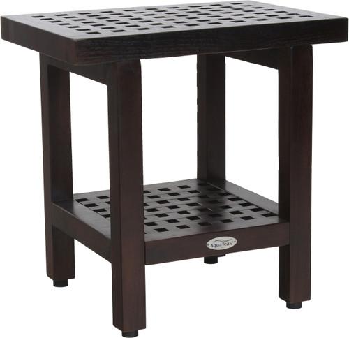 "18"" Grate™ Mocha Teak Side Table with Shelf"