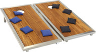 Teak & Stainless Stellar Corn Toss Game & Set of Eight Corn Toss Bags