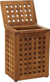 Grate™ Teak Waste Basket with Lid