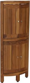 Kai™ Corner Teak Bath Shelf with Square Legs & Front Facing Doors