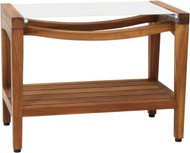 "Patented 24"" Asia® Sling Teak Shower Bench with Shelf (White Sling)"