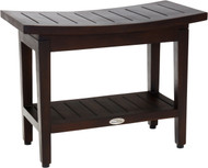 "Patented 24"" Maluku™ Mocha Teak Shower Bench with Shelf"