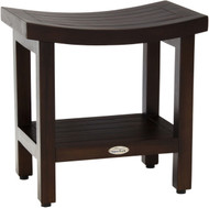 "Patented 18"" Sumba™ Mocha Teak Shower Bench with Shelf"
