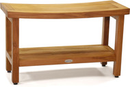 "Patented 30"" Sumba™ Teak Shower Bench with Shelf"
