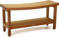 "Patented 36"" Sumba™ Teak Shower Bench with Shelf"