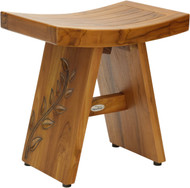 "18"" Asia® Artisan Teak Shower Bench with Carved Leaves on Leg"