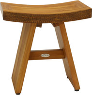 "18"" Asia® Artisan Teak Shower Bench with Carved Pattern on Seat-Front"