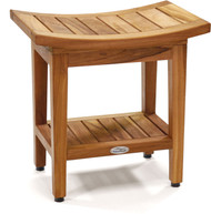 "Patented 18"" Maluku™ Teak Shower Bench with Shelf"