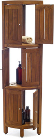 Kai™ Four-Tier Corner Teak Bath Stand with Front-Facing Doors