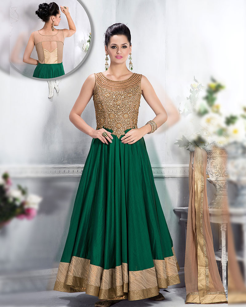 Intricately designed green and beige cotton silk anarkali suit ...