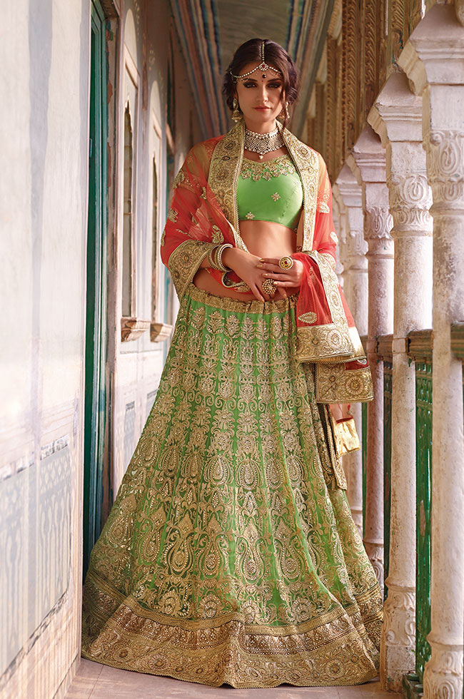 Excellent Parrot Green Bridal Lehenga For Wedding Or Engagement