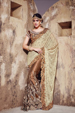 Cream And Brown Color Bridal Sari  (S0350)