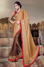 Light And Dark Brown Color Wedding Or Engagement Sari  (S0352)