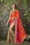 Beige, Red and Orange color wedding sarii